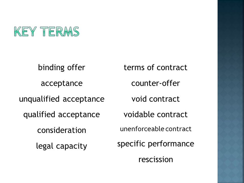 Key terms binding offer terms of contract acceptance counter-offer