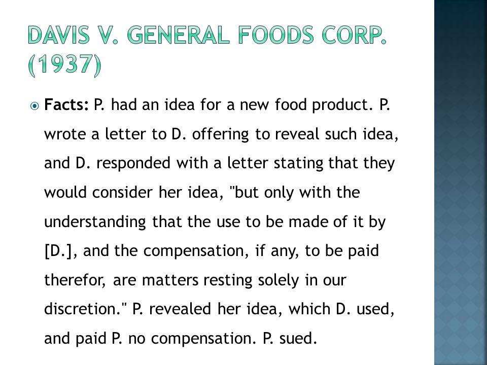 Davis v. General Foods Corp. (1937)