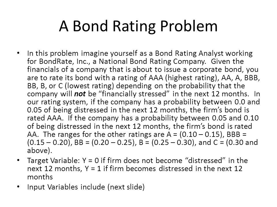 A Bond Rating Problem