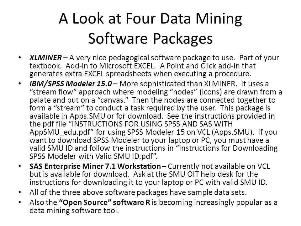 A Look at Four Data Mining Software Packages