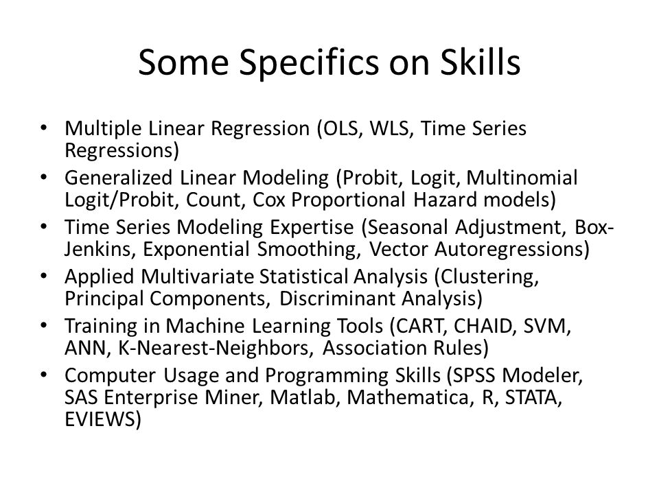Some Specifics on Skills