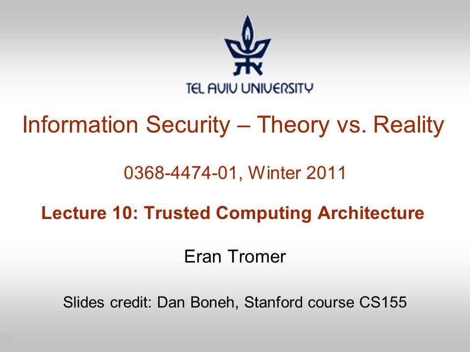 Eran Tromer Slides credit: Dan Boneh, Stanford course CS155
