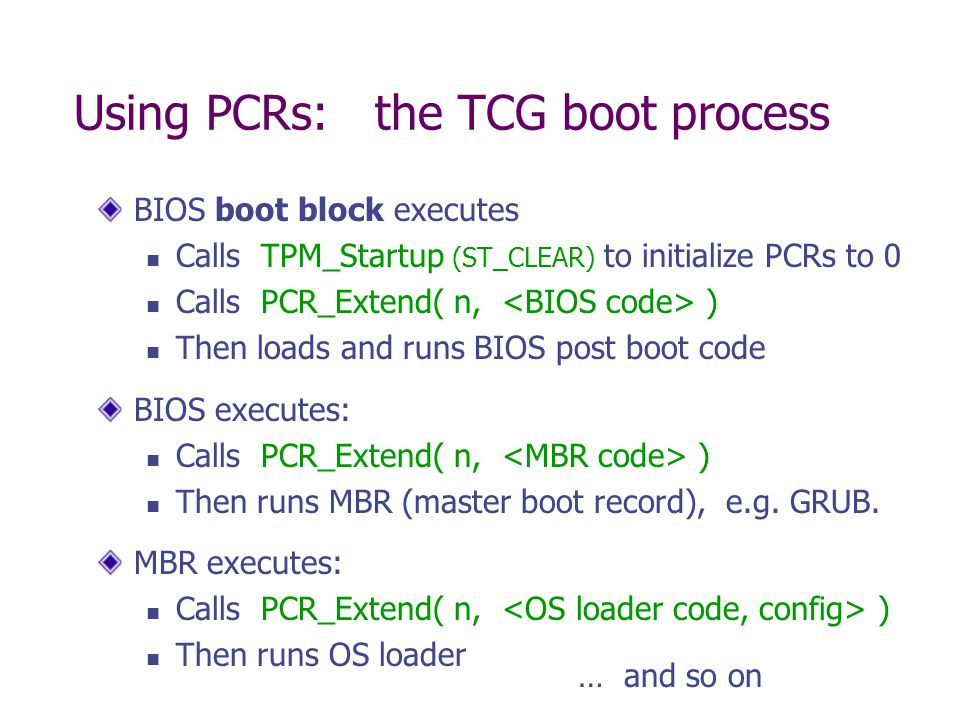 Using PCRs: the TCG boot process