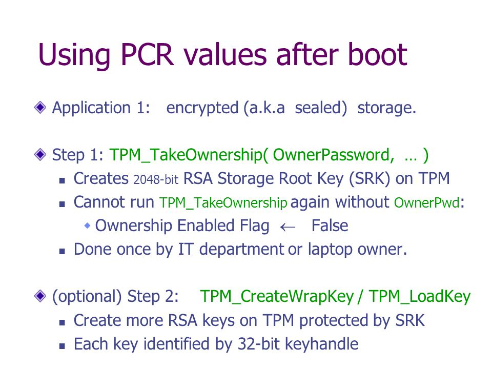 Using PCR values after boot