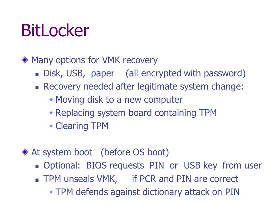 BitLocker Many options for VMK recovery