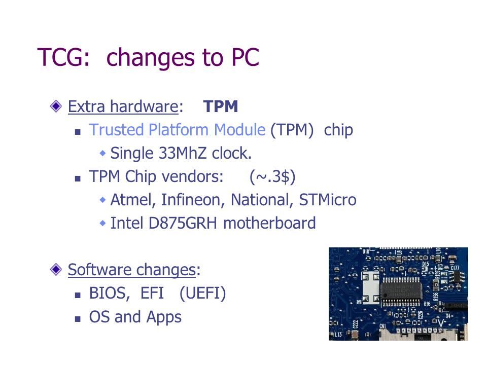TCG: changes to PC Extra hardware: TPM