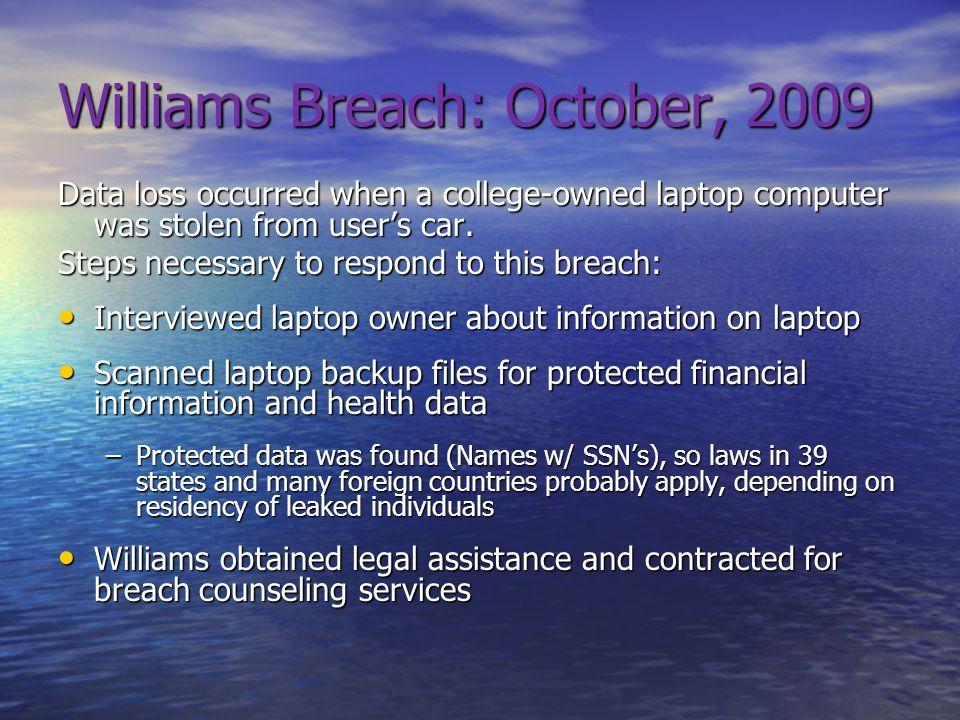 Williams Breach: October, 2009