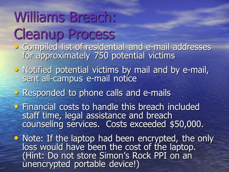 Williams Breach: Cleanup Process