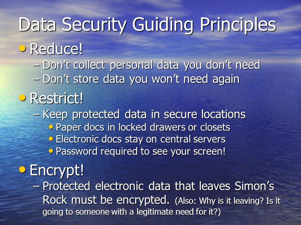 Data Security Guiding Principles