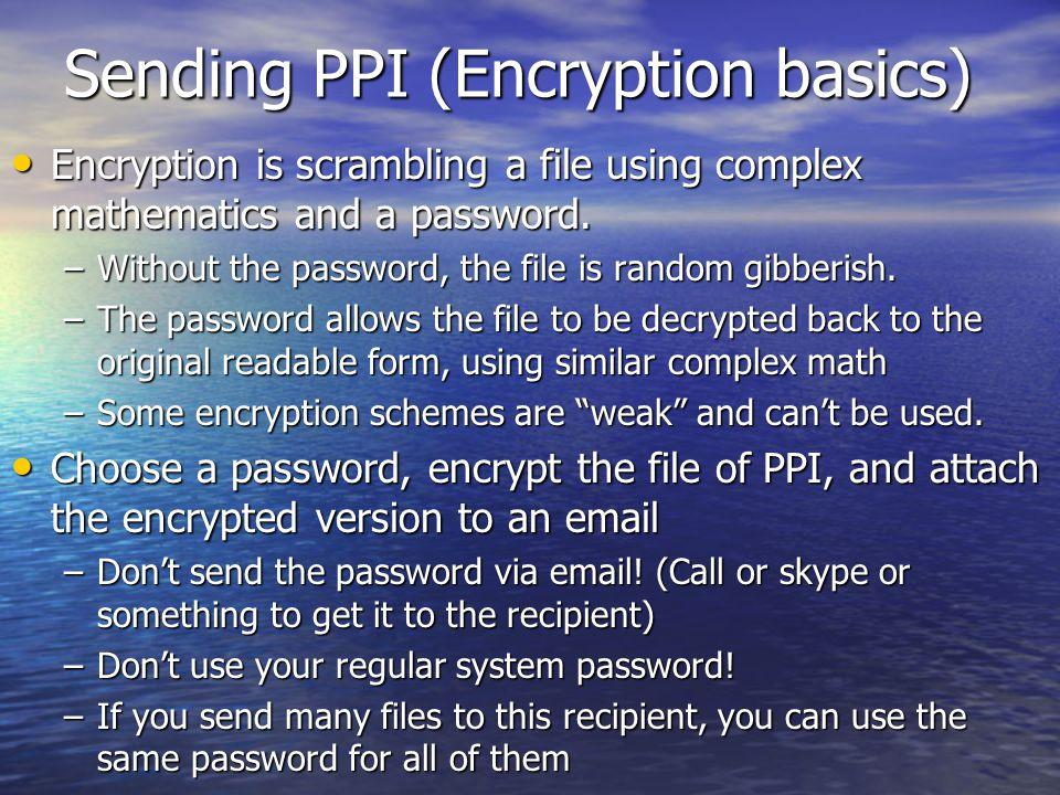Sending PPI (Encryption basics)