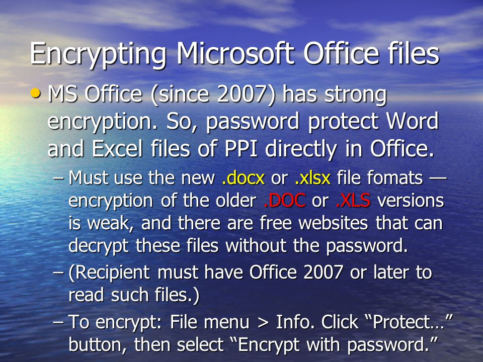 Encrypting Microsoft Office files