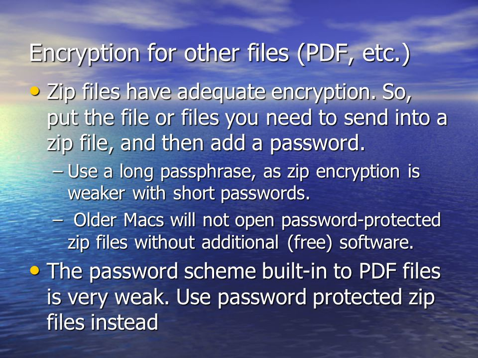 Encryption for other files (PDF, etc.)