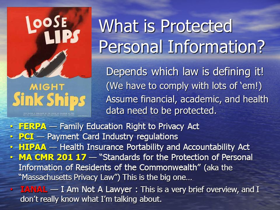 What is Protected Personal Information