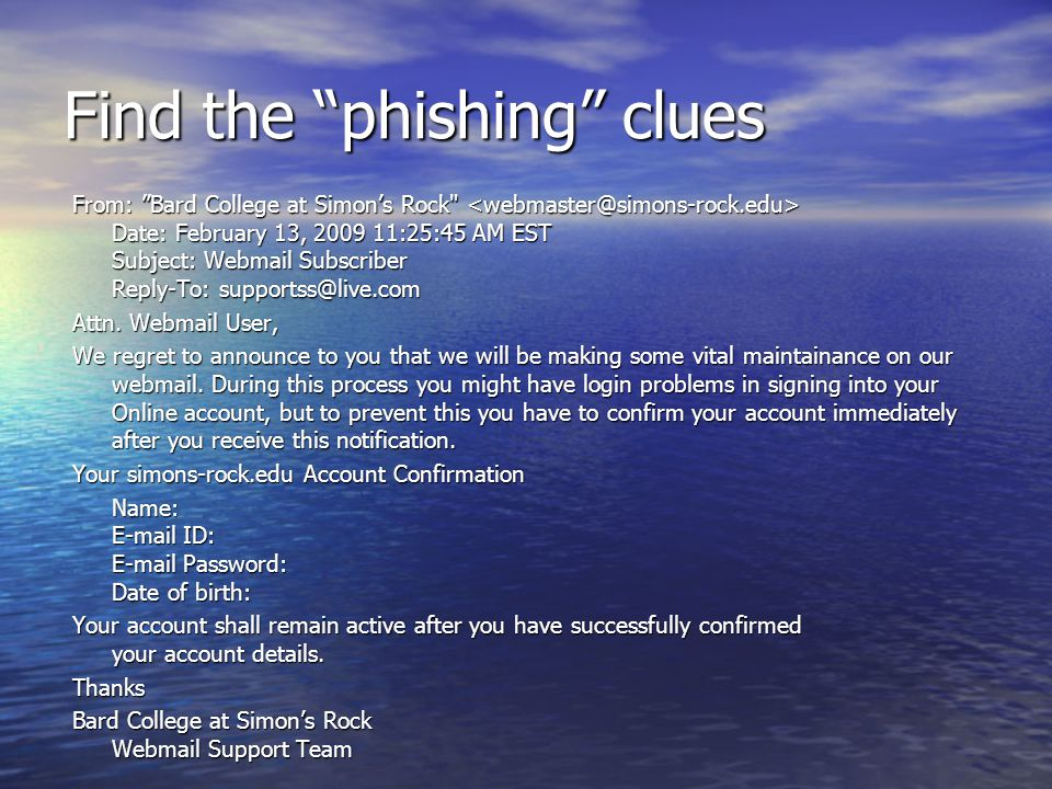 Find the phishing clues