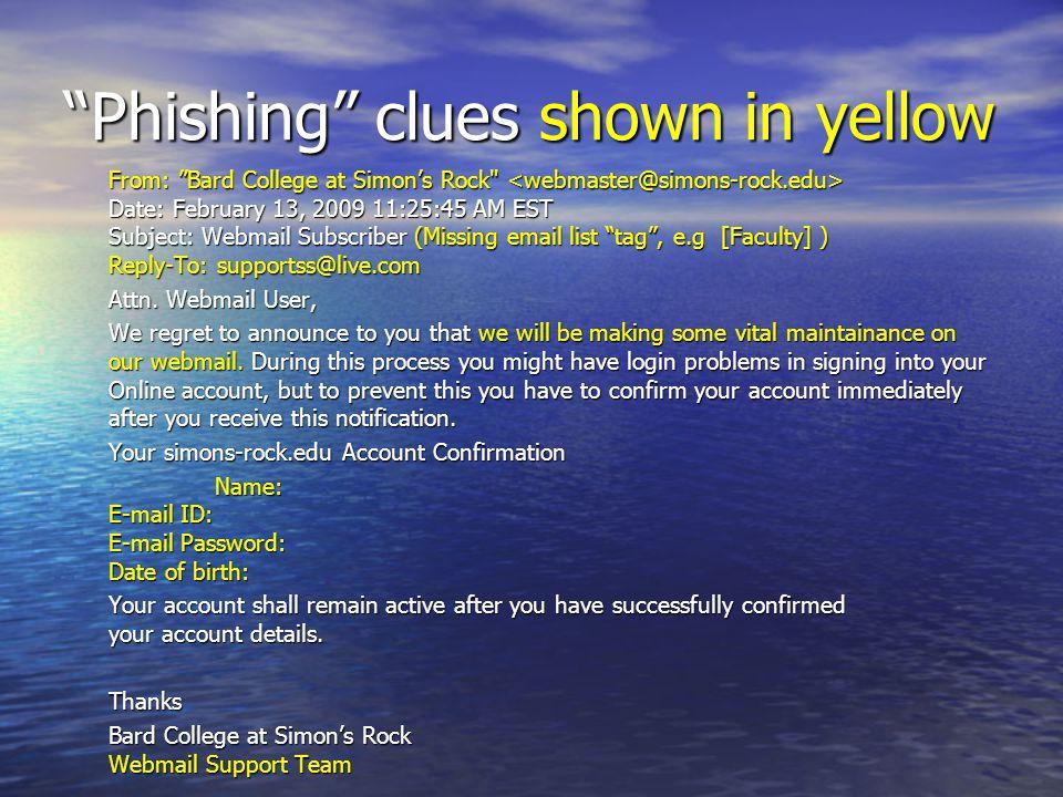 Phishing clues shown in yellow