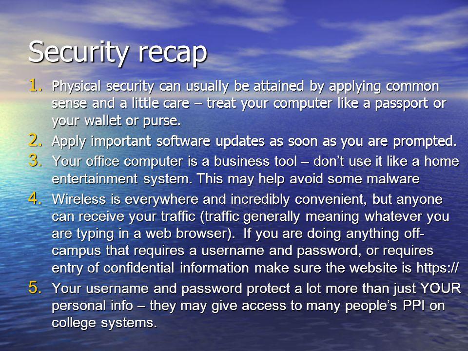 Security recap