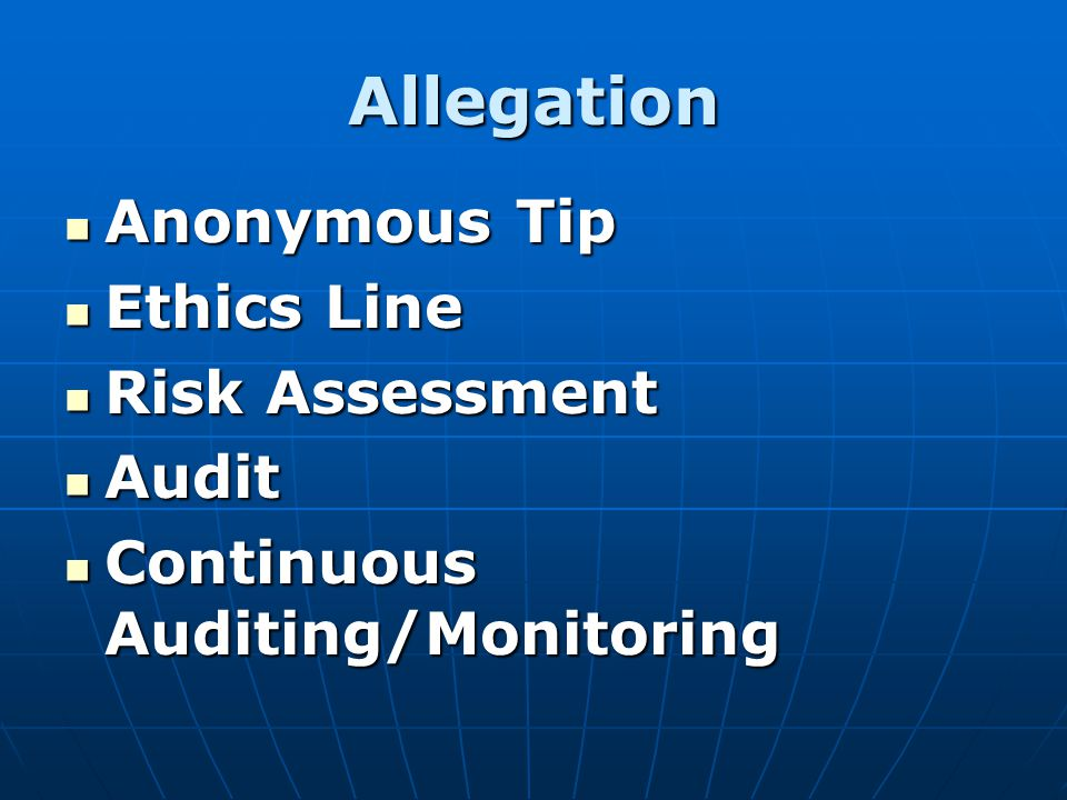 Allegation Anonymous Tip Ethics Line Risk Assessment Audit