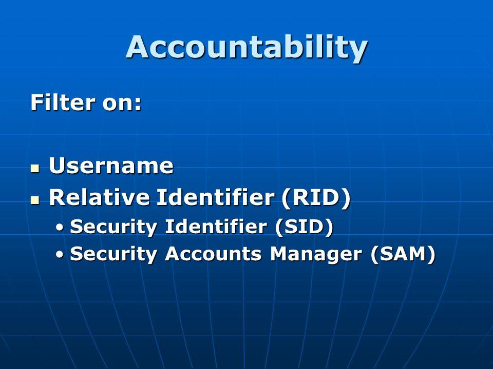 Accountability Filter on: Username Relative Identifier (RID)