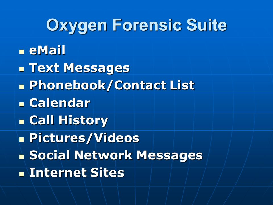 Oxygen Forensic Suite eMail Text Messages Phonebook/Contact List