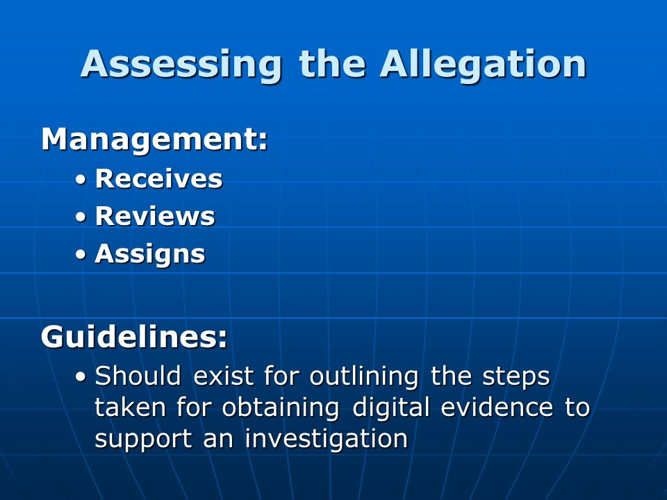 Assessing the Allegation