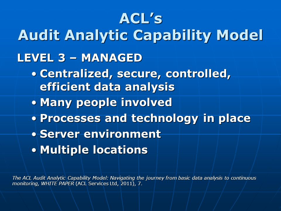 ACL's Audit Analytic Capability Model