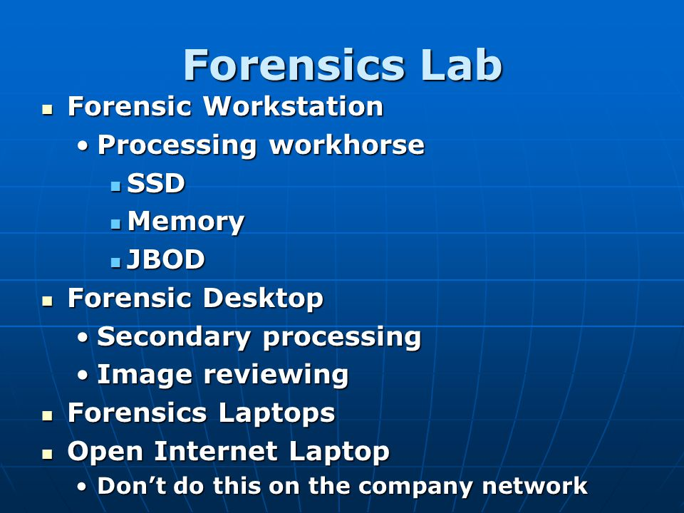Forensics Lab Forensic Workstation Processing workhorse SSD Memory