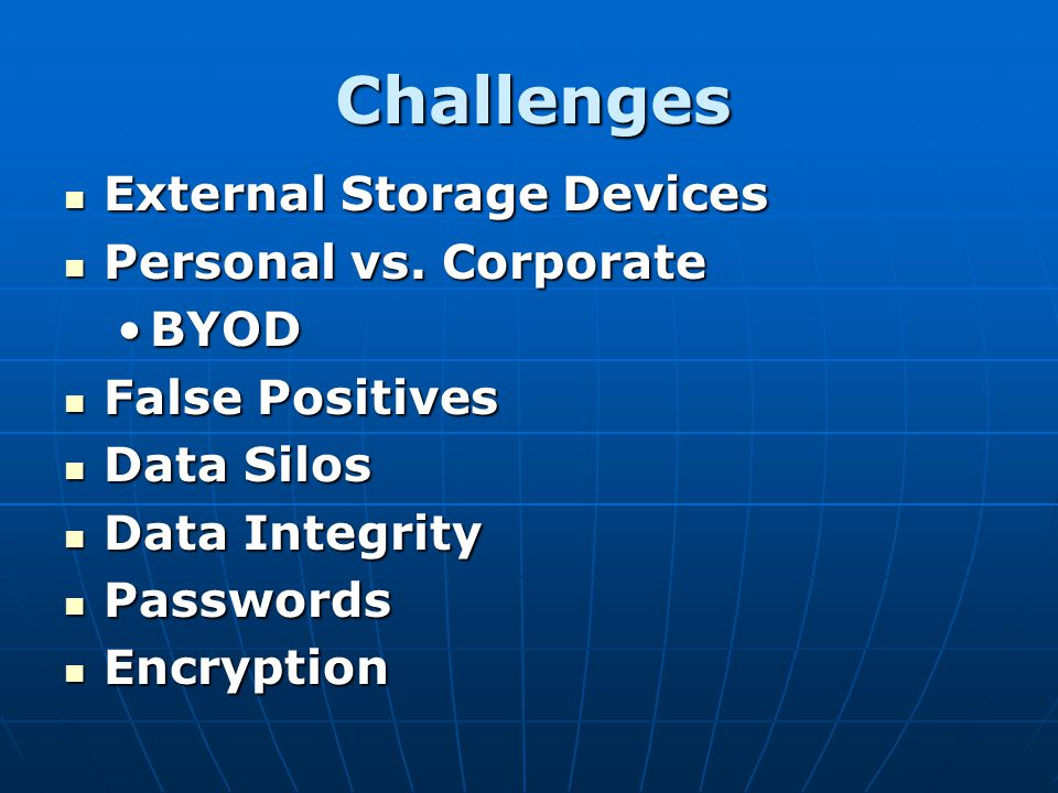 Challenges External Storage Devices Personal vs. Corporate BYOD