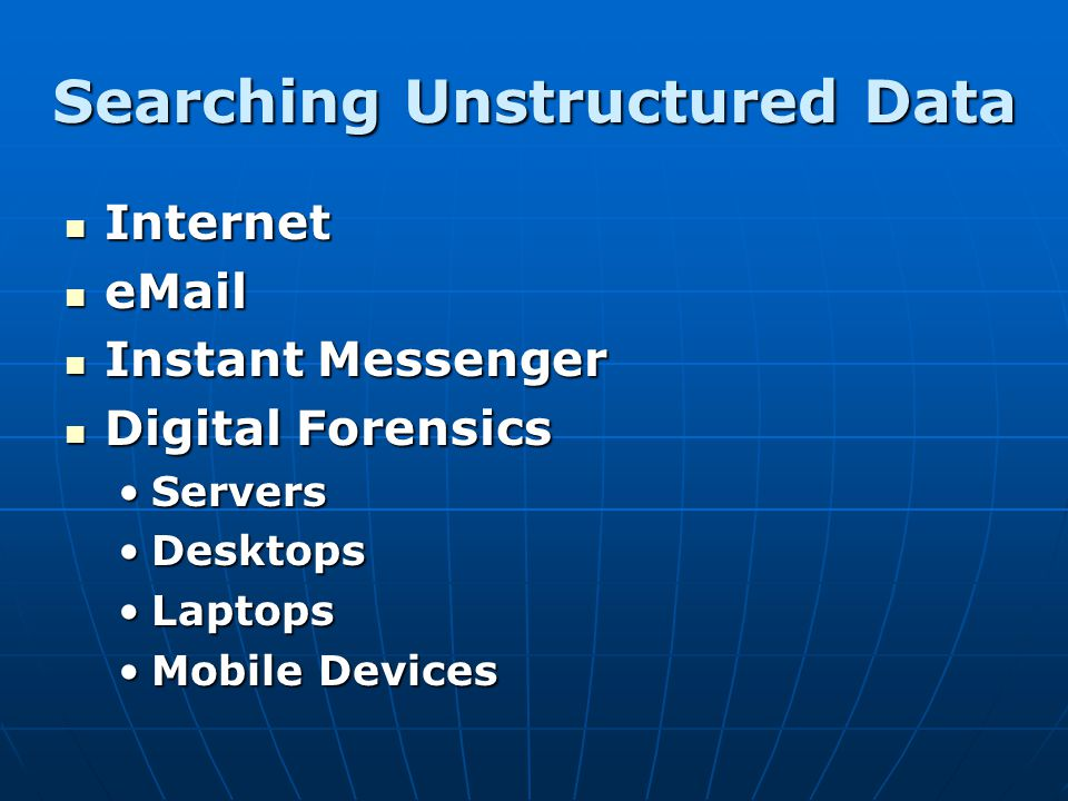 Searching Unstructured Data