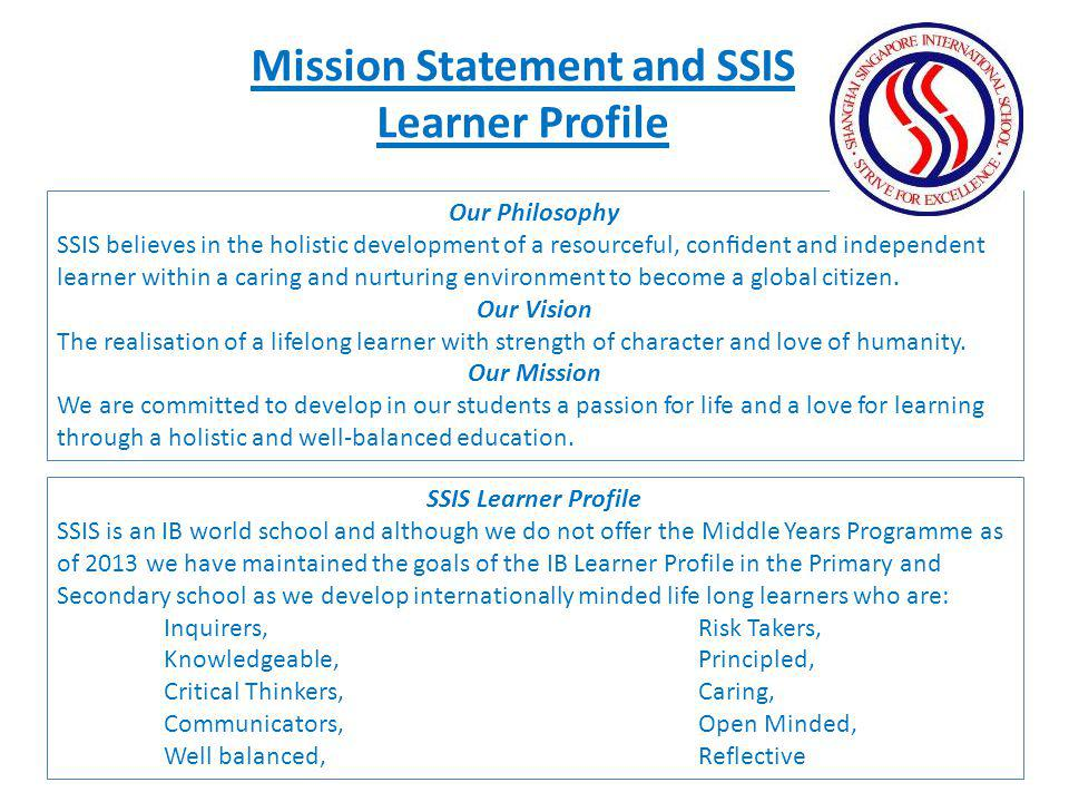 Mission Statement and SSIS Learner Profile