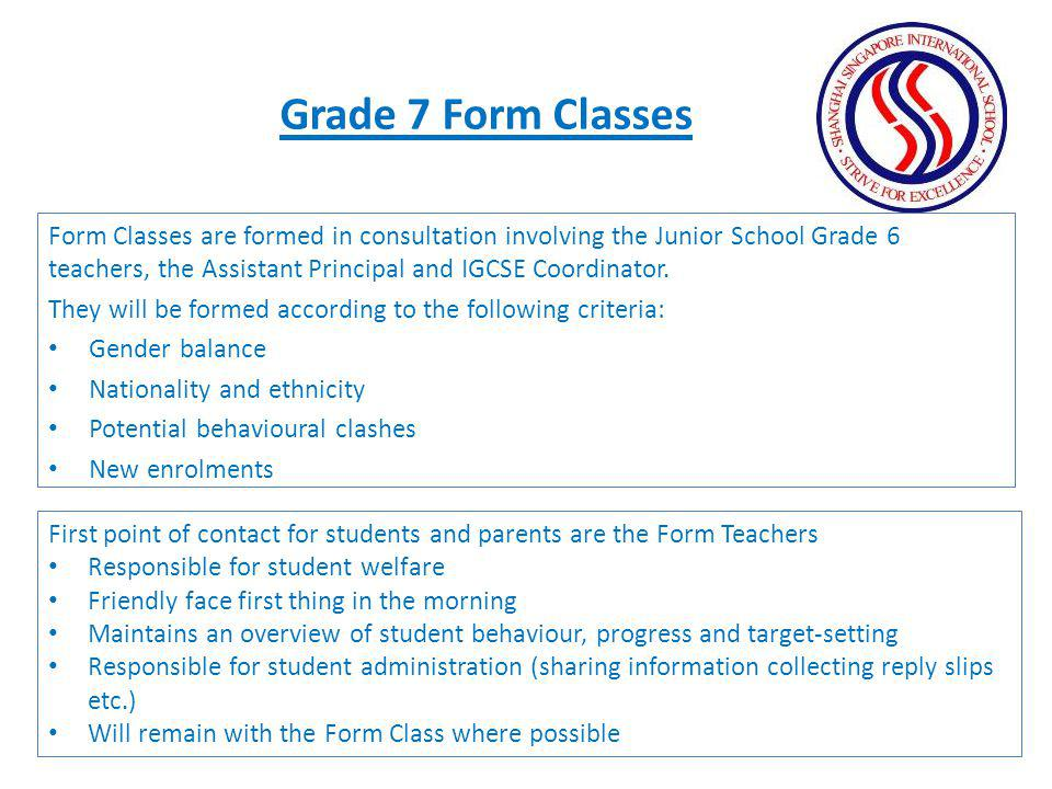 Grade 7 Form Classes