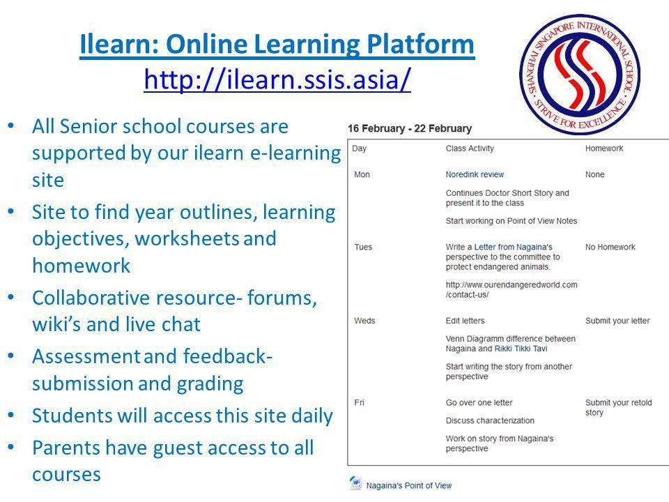 Ilearn: Online Learning Platform http://ilearn.ssis.asia/
