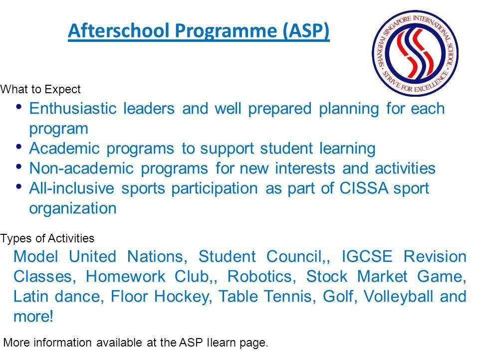 Afterschool Programme (ASP)