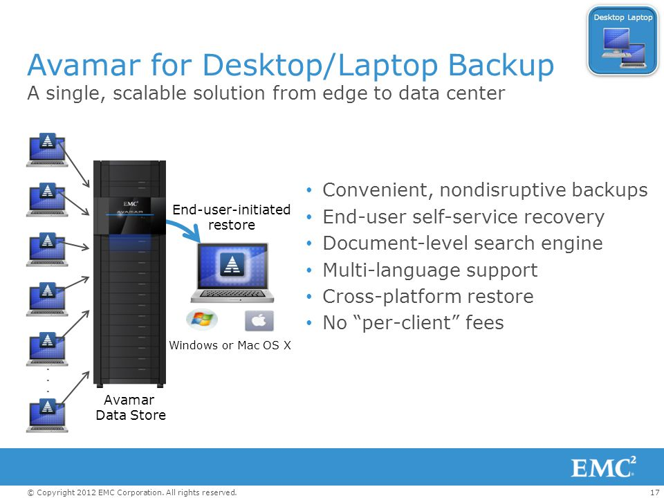 Avamar for Desktop/Laptop Backup