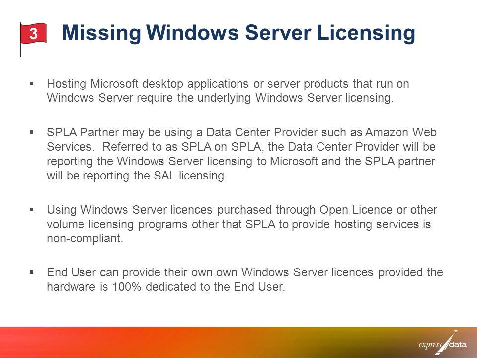 Missing Windows Server Licensing