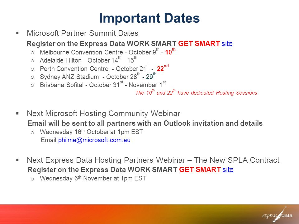 Important Dates Microsoft Partner Summit Dates