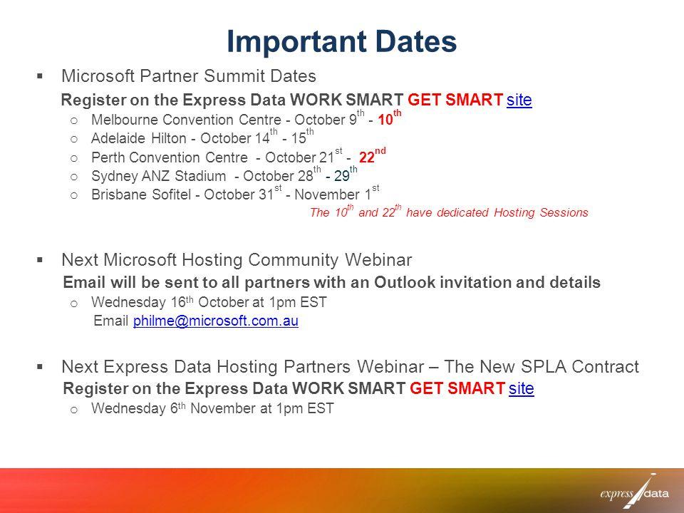 Important Dates Microsoft Partner Summit Dates