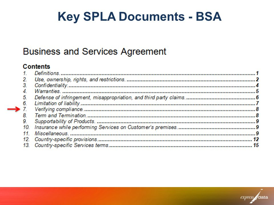 Key SPLA Documents - BSA