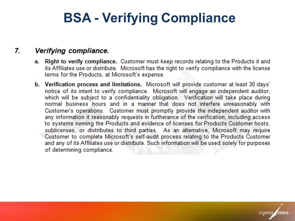 BSA - Verifying Compliance