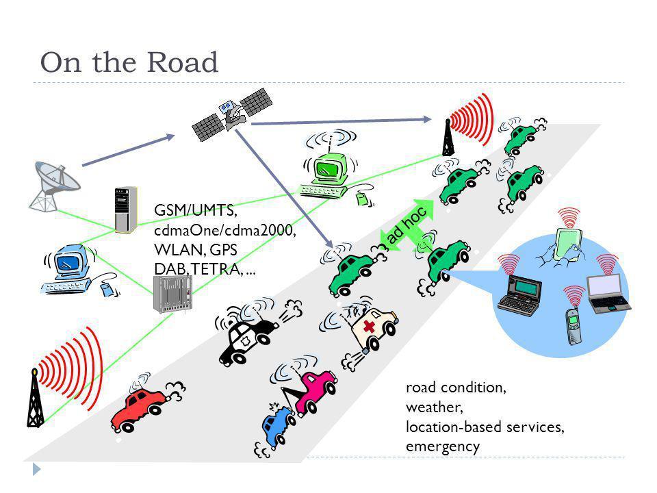 On the Road GSM/UMTS, cdmaOne/cdma2000, WLAN, GPS ad hoc