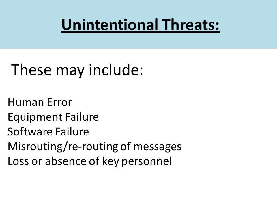 Unintentional Threats: