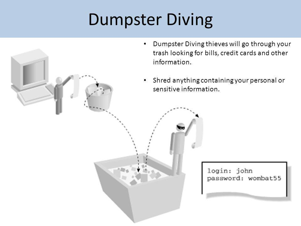 Dumpster Diving Dumpster Diving thieves will go through your trash looking for bills, credit cards and other information.