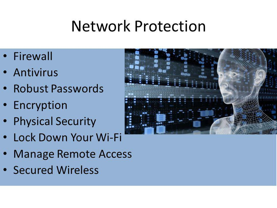 Network Protection Firewall Antivirus Robust Passwords Encryption