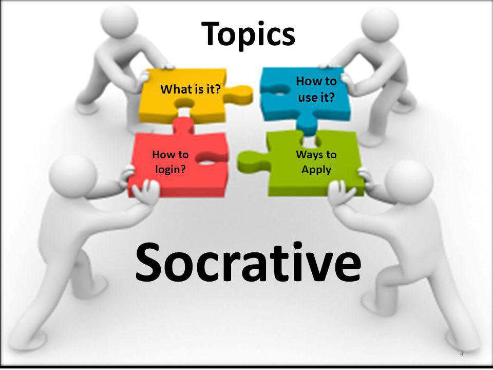 Socrative Topics How to use it What is it How to login Ways to