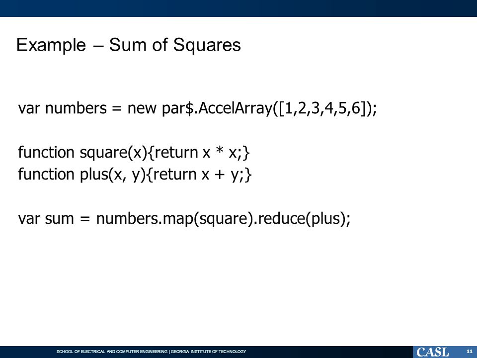 Example – Sum of Squares