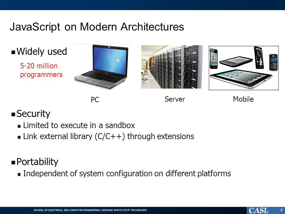 JavaScript on Modern Architectures