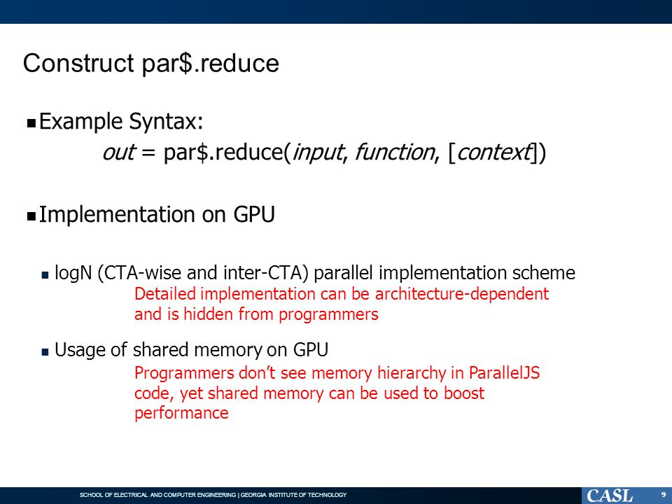 Construct par$.reduce Example Syntax: