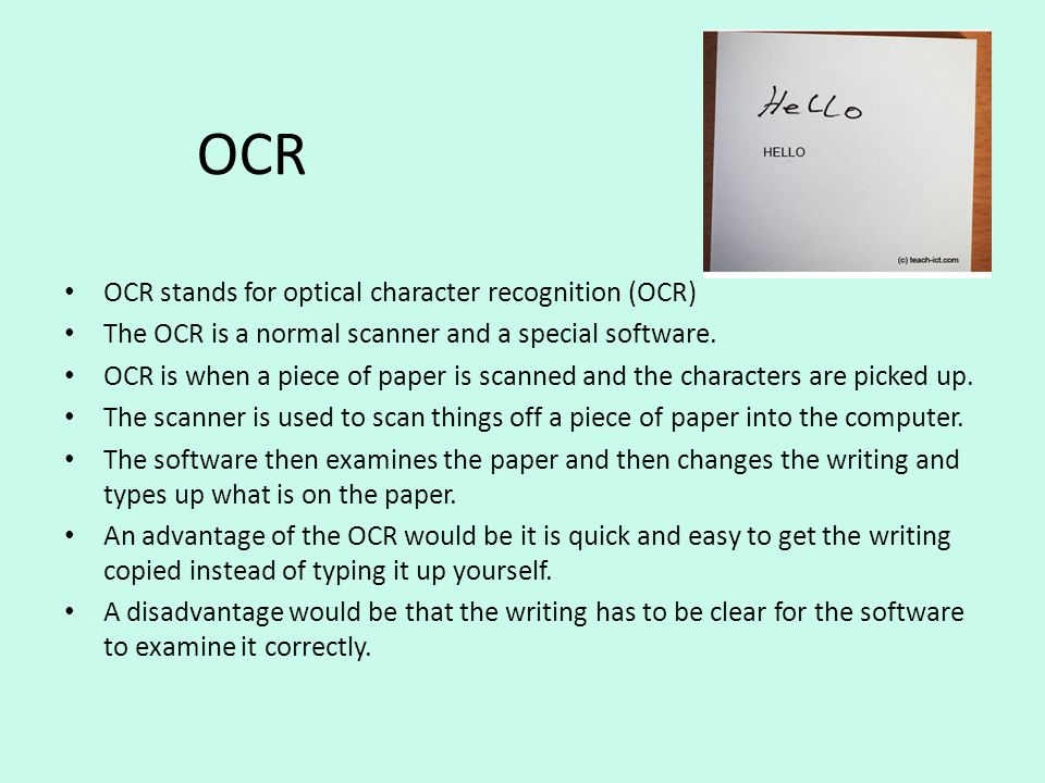 OCR OCR stands for optical character recognition (OCR)