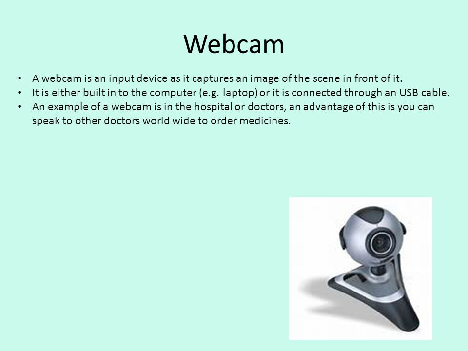 Webcam A webcam is an input device as it captures an image of the scene in front of it.