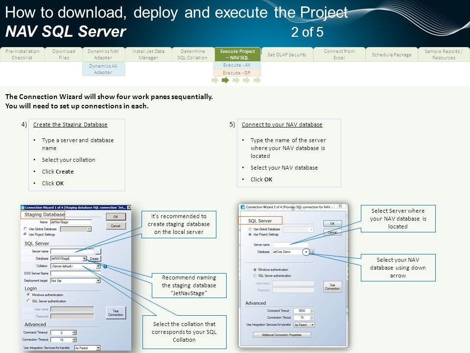 How to download, deploy and execute the Project NAV SQL Server 2 of 5
