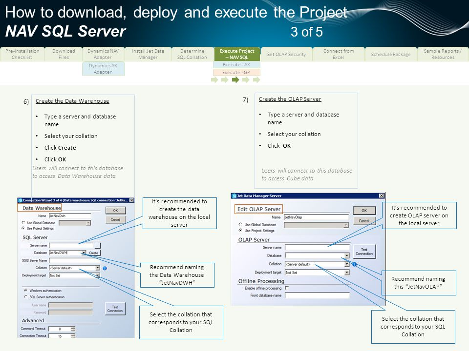 How to download, deploy and execute the Project NAV SQL Server 3 of 5